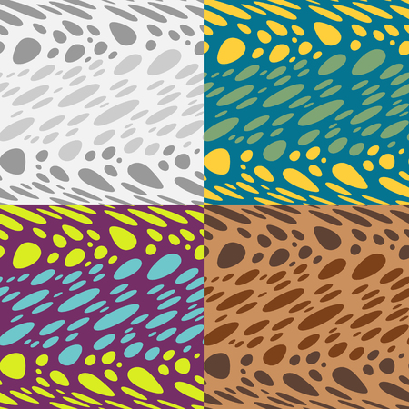 Set of seamless  pattern of curved circles on striped background