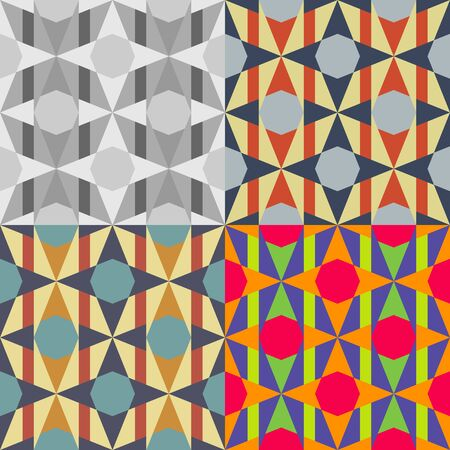 plain background: Set of seamless  patterns of geometric shapes on a plain background