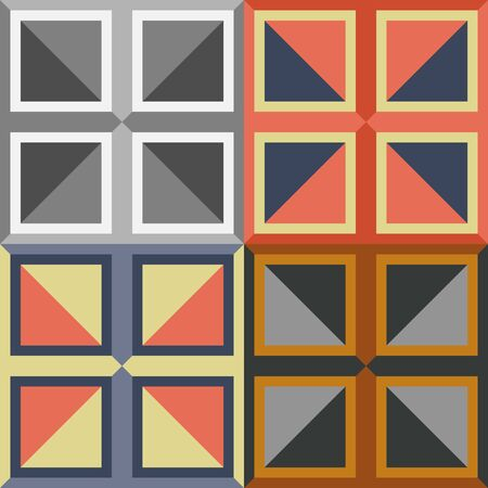 solid background: A set of abstract seamless patterns of squares on a solid background