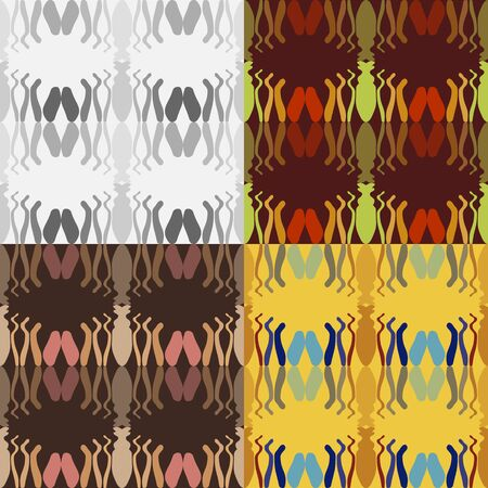 Set of abstract seamless patterns of irregular geometric figures on a uniform background
