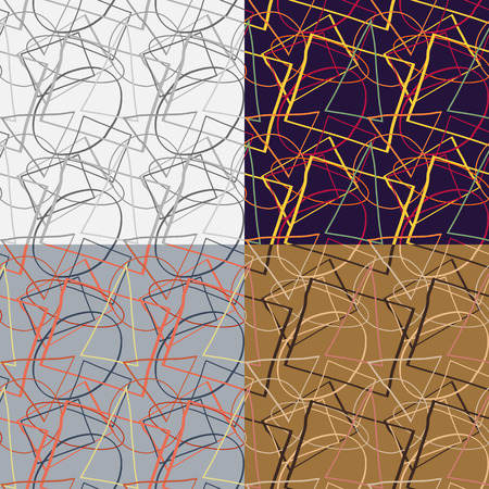 Set of seamless patterns of curved geometric shapes, randomly arranged on a solid background