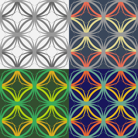 Set of seamless patterns of intertwining oval lines on a solid background Illustration