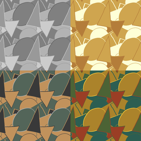 bumpy: Set of seamless patterns of curved geometric shapes, randomly arranged on a solid background