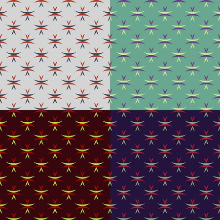 plain background: Set of seamless patterns of pointed oval stripes on plain background