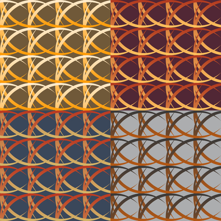 braiding: Set of seamless  patterns of intertwining oval lines on a solid background