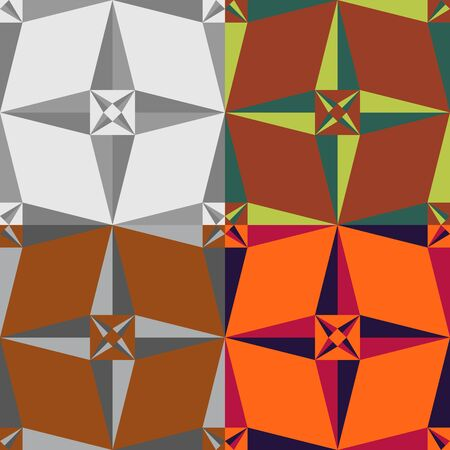 symmetrical: A set of abstract vector seamless symmetrical geometric patterns Illustration