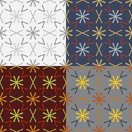Een set van abstracte vector naadloze symmetrische geometrische patronen Stock Illustratie