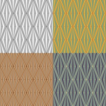 A set of abstract vector seamless symmetrical geometric patterns Ilustrace