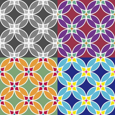Set of vector seamless pattern of colored circles, simulating stained glass