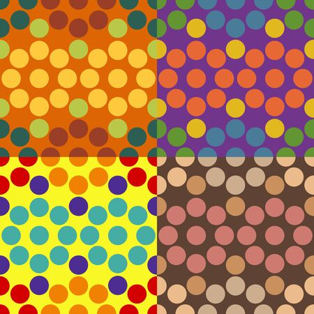 Set of vector seamless pattern of colored circles