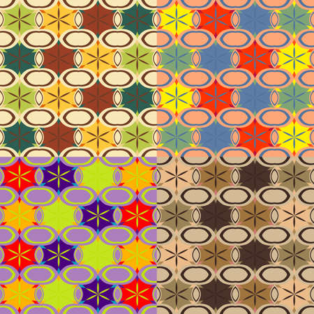 ovals: Vector set of seamless geometric patterns with ovals