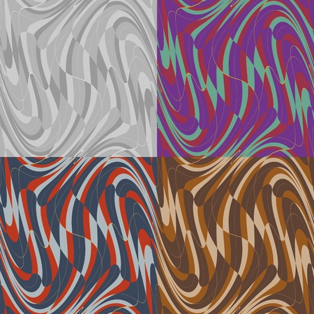 Set of vector seamless geometric distortion of the wave patterns