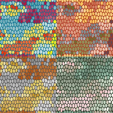Set of vector seamless patterns, imitating a mosaic