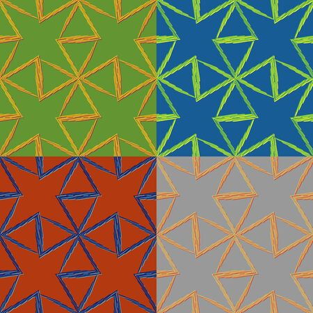 Set of vector seamless pattern of triangles drawn individual strips