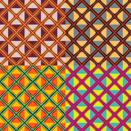 Set of vector seamless patterns with squares and cells