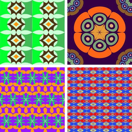 associative: Set of four vector seamless pattern abstract drops of geometric shapes
