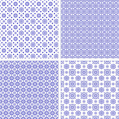 Set of four vector seamless blue pattern on a white background