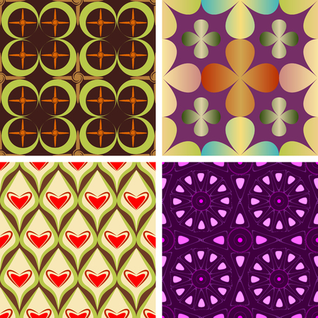 Set of four seamless colorful patterns composed of geometric shapes, vector graphics