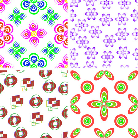 brown pattern: Set of four seamless pattern of colored rectangles and circles