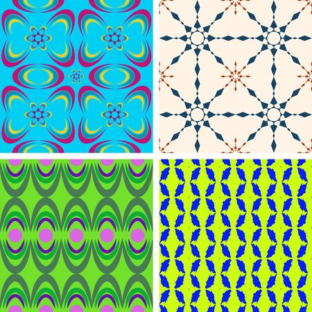 Set of four seamless color patterns of the duplicate shapes on a colored background