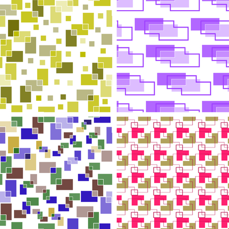 Set of four seamless backgrounds of colored rectangles on white