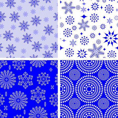 undulating: Set of four seamless vector patterns with snowflakes Illustration