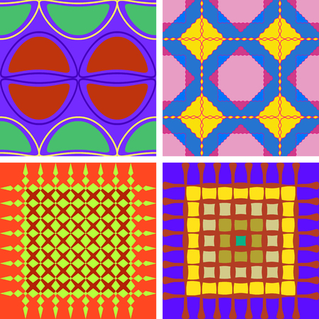 A set of four colorful seamless patterns of vector graphics