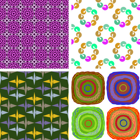 Set of four seamless patterns composed of irregular geometric shapes, vector graphics