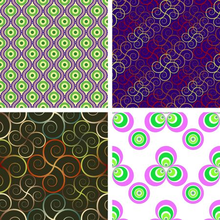 associative: A set of four vector seamless patterns based on a circle and spiral