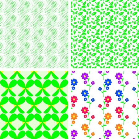 scalloped: A set of four vector seamless patterns, a stylised grass, plants and flowers Illustration
