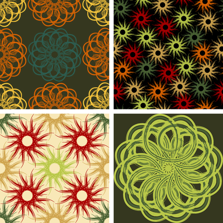 Four abstract seamless vector patterns decorated with simulated brush strokes 向量圖像