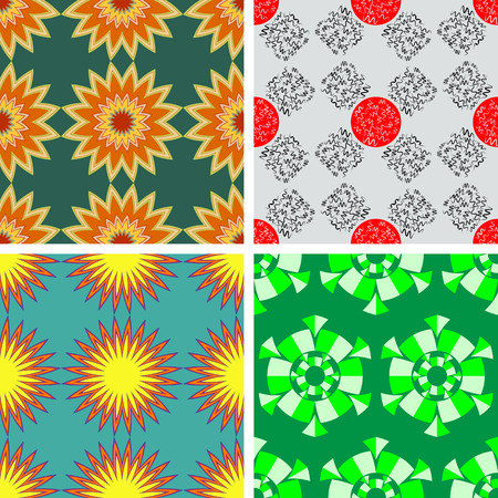 Set of four seamless color patterns with abstract stars with rays