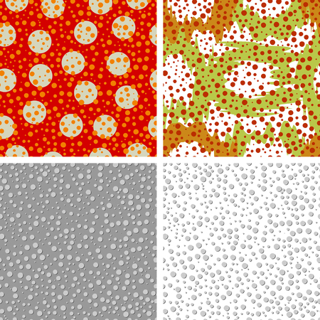 Set of four backgrounds of seamless pattern with colored circles