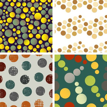 Set of four vector seamless patterns with colored circles