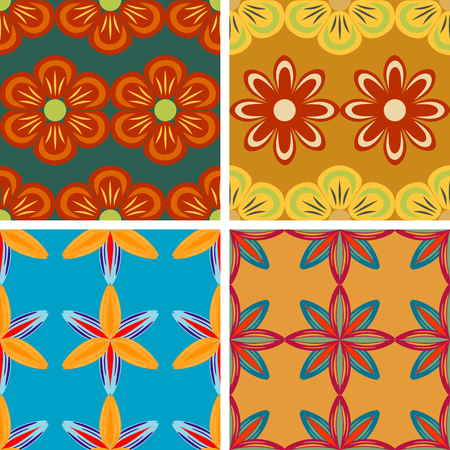 screen savers: Set of four seamless vector patterns abstract flowers of plants