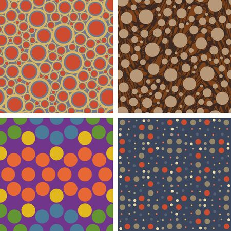 Set of four seamless vector pattern of circles on different backgrounds