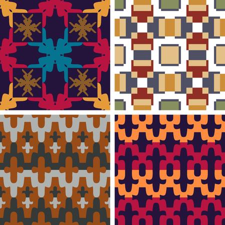 4 원활한 벡터 추상적 인 색 패턴의 집합 일러스트