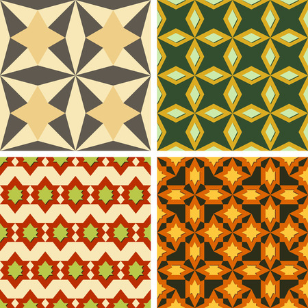enjoyable: Set of four seamless color patterns of abstract geometric shapes of different sizes