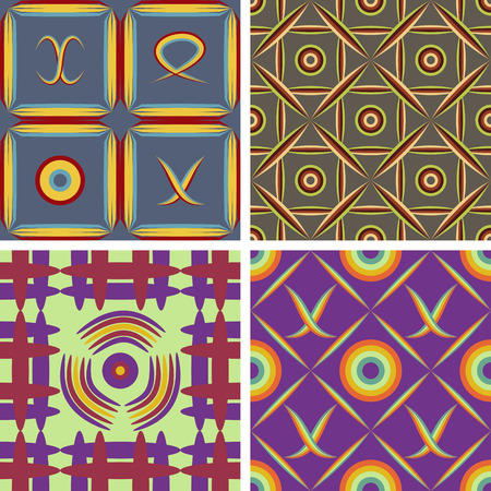 screen savers: Set of four seamless vector patterns of colored geometric shapes Illustration