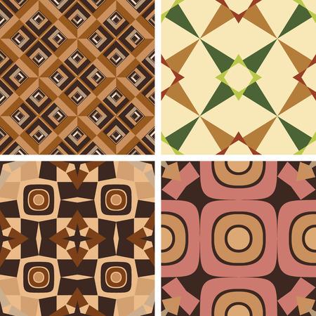 シームレスな幾何学的なパターンの 4 つの色のセット  イラスト・ベクター素材