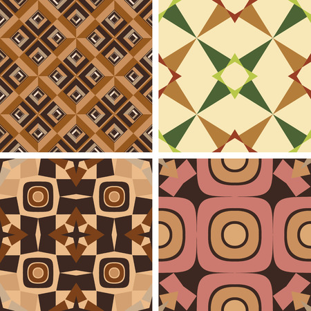 Set of four color of seamless geometric patterns