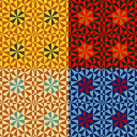 A set of abstract vector seamless geometric patterns with symmetrical triangles