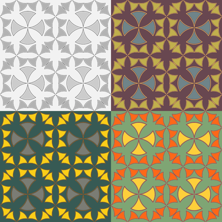 symmetrical: Vector seamless geometric patterns symmetrical with stylized crosses Illustration