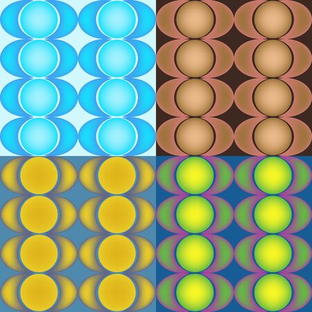 Set of multicolored vector seamless abstract patterns of the gradient circle Vettoriali