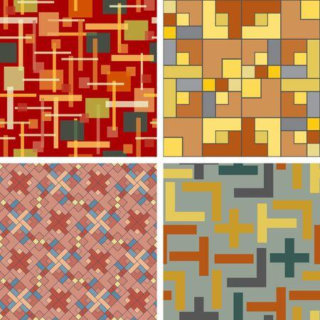 Set of seamless patterns of colored rectangles Illusztráció