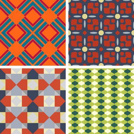 Ensemble de quatre motifs géométriques sans soudure sur un fond solide Vecteurs