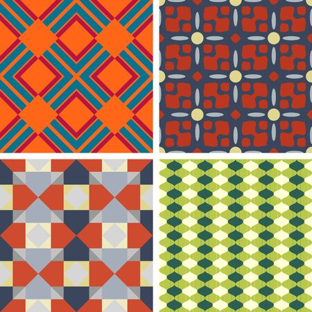 braiding: Set of four seamless geometric patterns on a solid background Illustration