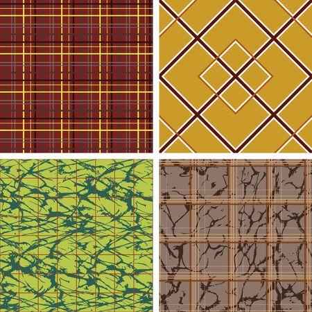 Set of seamless symmetric linear geometric patterns