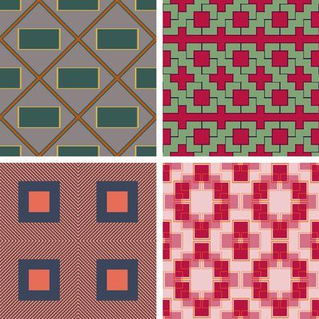 Set of seamless geometrical patterns of rectangular shapes