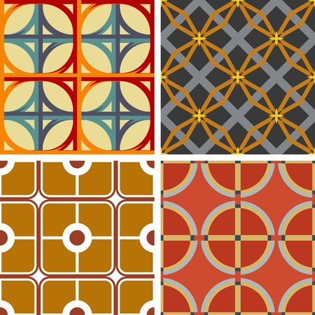 solid background: Set of four seamless geometric patterns on a solid background Illustration